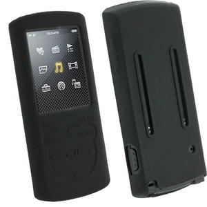 iGadgitz Black Silicone Skin Case Cover Holder for Sony Walkman NWZ-E463 NWZ-E464 E Series Video 4gb 8gb MP3 Player + Screen Protector   Preview